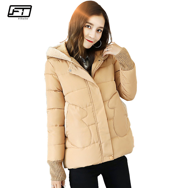 Fitaylor winter coat women jacket hooded thick casual cotton padded black parka mujer warm slim plus size female jacker тканевые маски и патчи fabrik cosmetology комплект масок для области вокруг глаз с экстрактом улитки snail extract mask 5шт