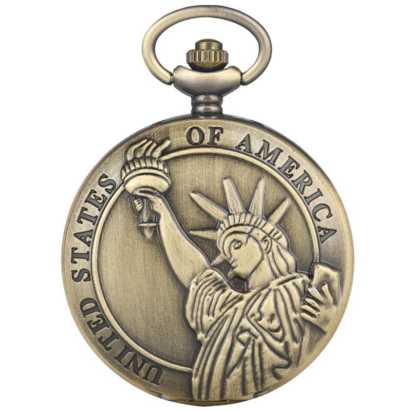 Stylish Quartz Pocket Watch Retro For Women Men Delicate Statue Of Liberty Pattern Watch Durable Alloy Thin Chain Pocket Watch