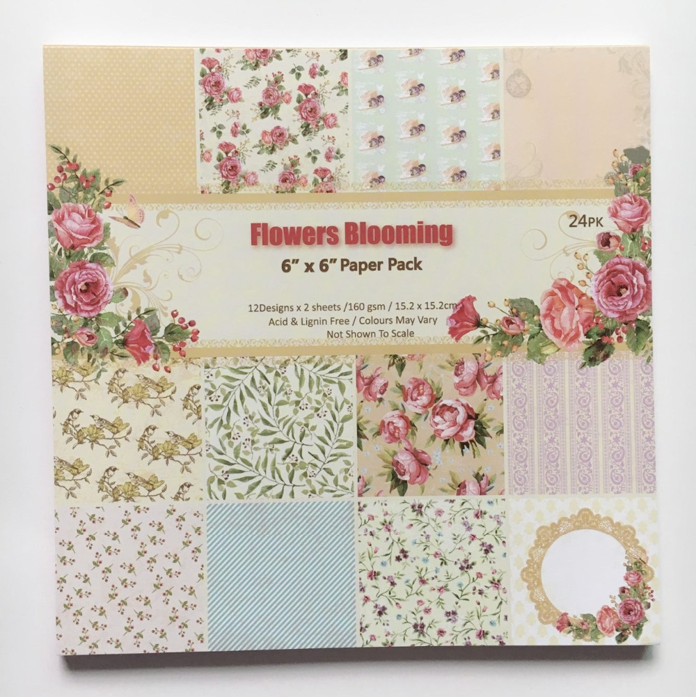 How to make scrapbook paper designs - New Style 6 Background Paper Pad Blooming Flowers Theme Patterns 24sheets Diy Card Scrapbooking Paper Pack Paper Craft