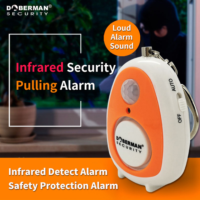 Doberman Security Motion Detector Alarm With Emergency Keychain Self Protection Safety Home Security Movement Sensors Infrared