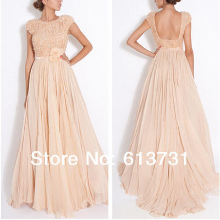 2019 New Arrival Fashion Scoop Neckline Short Sleeves Peach Sequins Top A Line Long   Prom     Dresses   Backless Evening Gowns 5461
