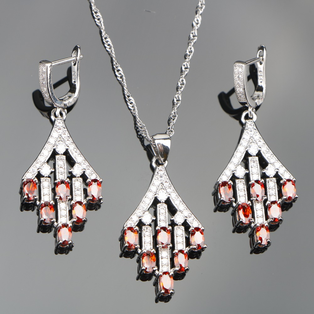 Red Zircon 925 Sterling Silver Jewelry Sets Wedding Women Stones Earrings Pendant Necklace Set of Jewelery Free Gift Box