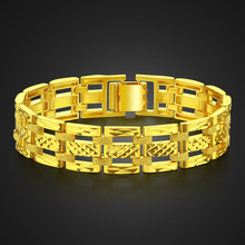 Golden Hip Hop Rock Bracelet Punk Style 15mm 20cm Thick Bracelet Men &  Woman hollow-carved Golden Color Jewelry Gift Wholesale stylish golden hollow rounded rectangle hasp bracelet for women