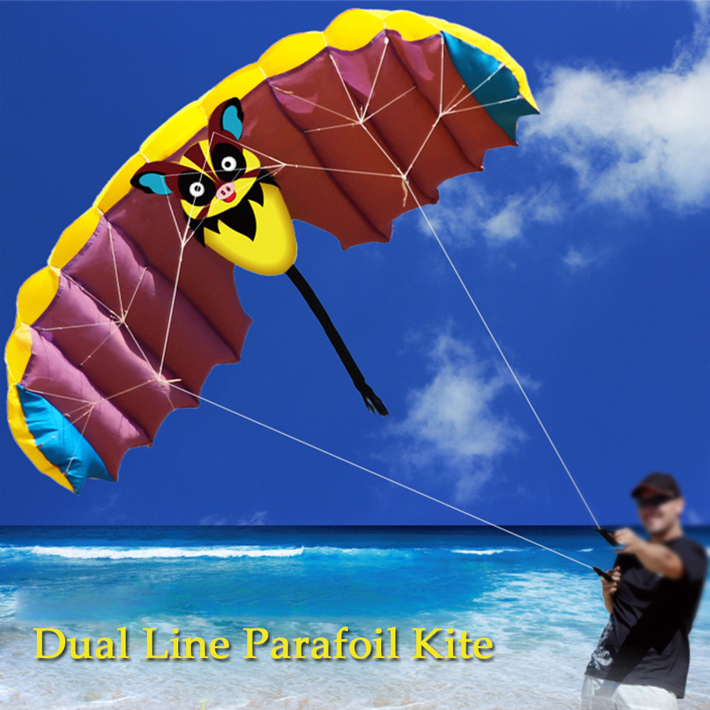 140 * 50cm Frameless Soft Dual Line Stunt Parafoil Kite Parachute Sports Beach Flying Cartoon Bat