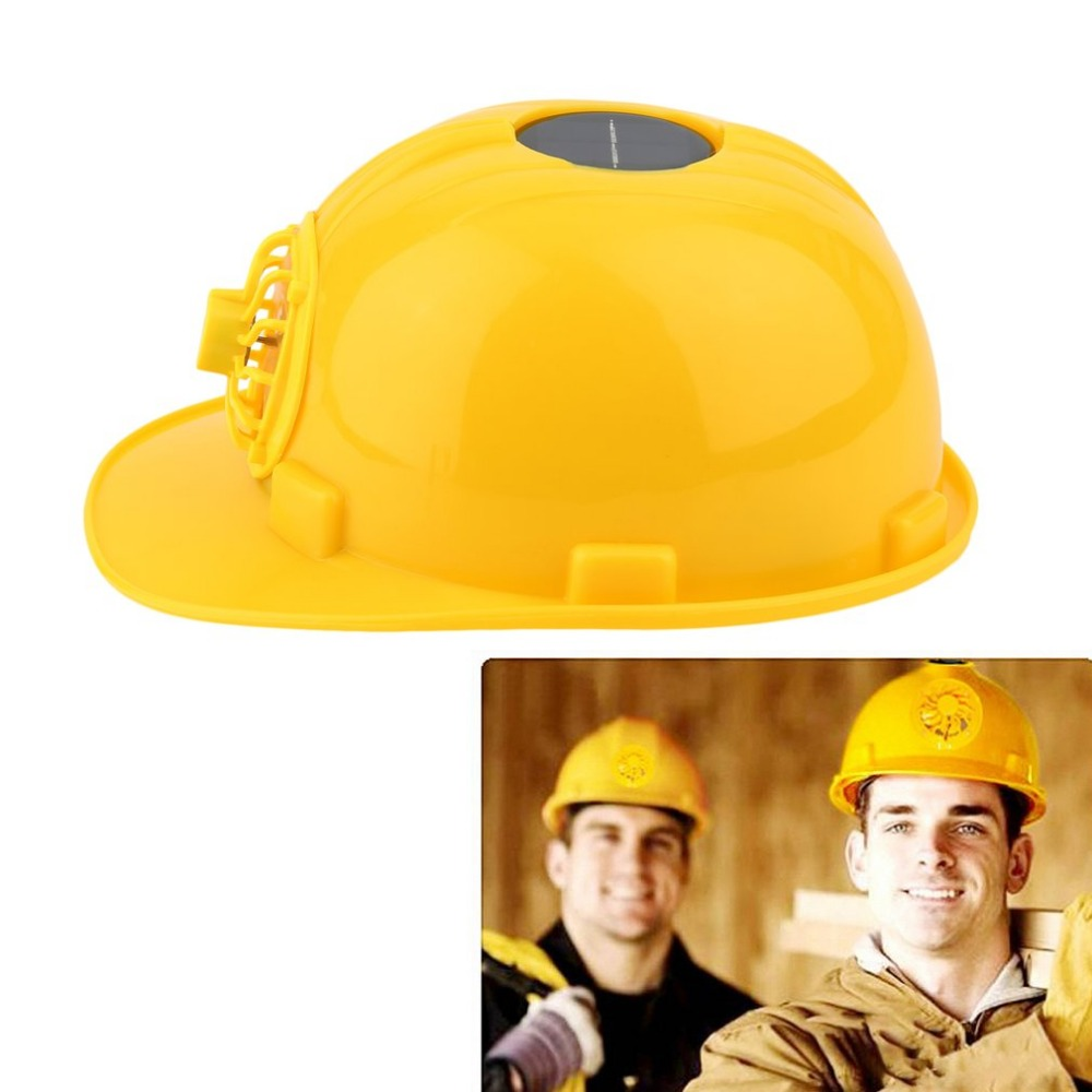 Solar Safety Helmet Adjustable 0.3W PE Solar Powered Safety Security Helmet Hard Ventilate Hat Cap with Cooling Cool Fan Yellow stylish baseball hat cap with solar powered cooling fan yellow