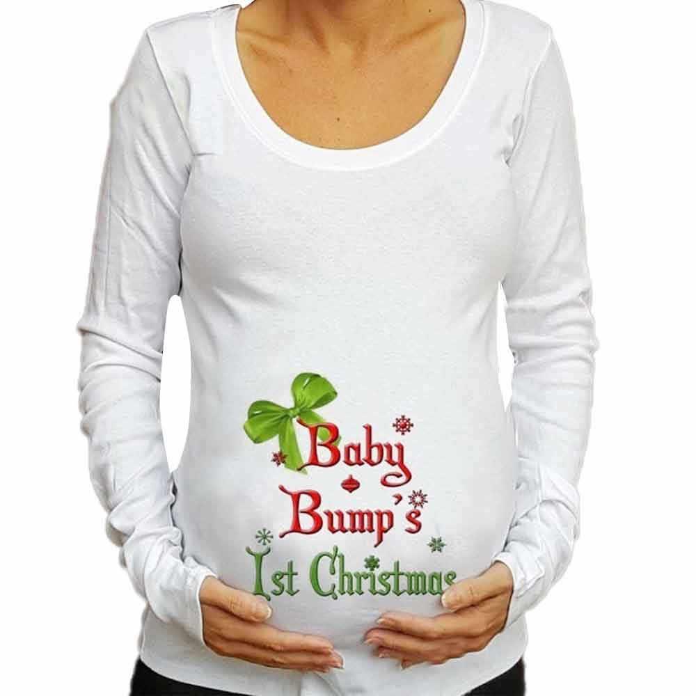 موضة الحوامل تي شيرت طويلة الأكمام عيد الميلاد الطفل للأمومة النساء الحمل عادية طباعة الملابس النسائية ملابس علوية