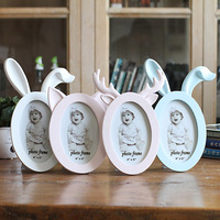 6 Inch Cute Resin Antlers Cat Rabbit Ears Frames Sweet Home Decor Table Photo Frame Bridal