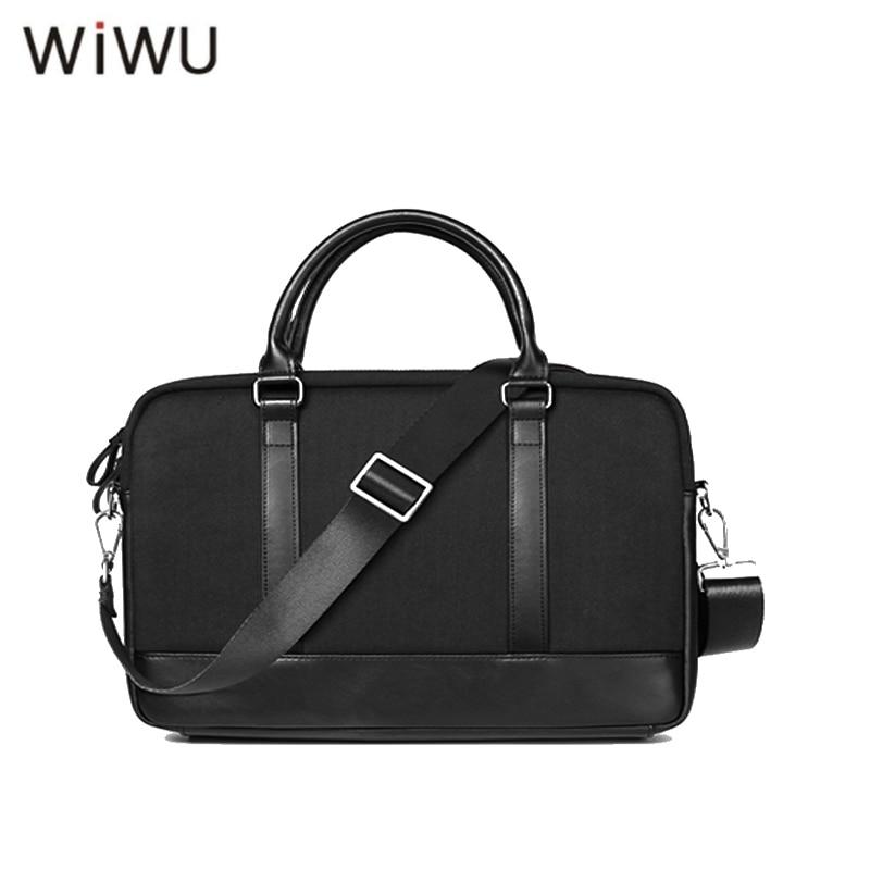 WIWU 14 Inch Waterproof Computer Laptop Notebook Bag Bags Case Messenger Shoulder for Men Women Genuine Leather Shoulder Bags