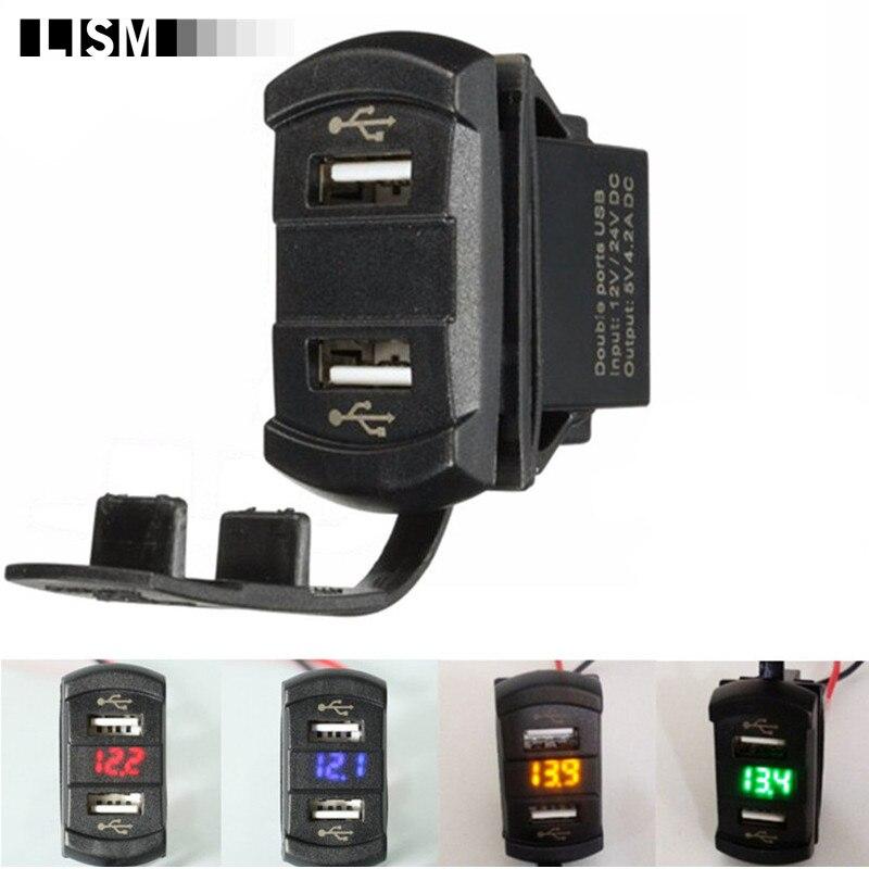 LED 12V 4.2A Moto Dual Ports 2USB Power Charger Adapter Socket Splitter Volt Meterr Voltage Meter Switch Panel Cigarette Lighter
