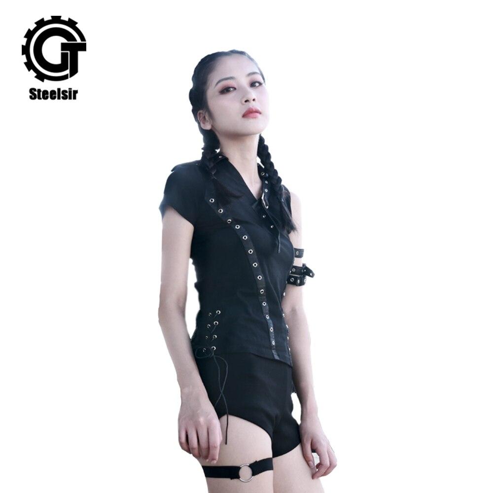 2018 Femmes D'été de Punk T-shirts Sexy Vintage T-shirt Femme Tops T-shirt À Manches Courtes Casual Harajuku Filles Chemises Noires