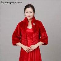Forevergracedress Reale Abbildungen Rote Faux Fur Hochzeit Wrap Bolero Jacken Braut Mantel Cape Umhang Schals Schals Auf Lager
