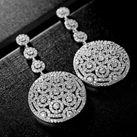 2017 New Top Quality Fashion Jewelry Brand Luxury Full CZ Zircon Disc Long Drop Earrings For