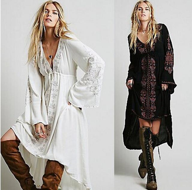 2016 Long Dress Women Vintage Ethnic Flower Embroidered Cotton Tunic Casual Long Dress Hippie Boho People Asymmetric Maxi Dress