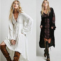 Free Shipping Women Vintage Ethnic Flower Embroidered Cotton Tunic Casual Long Dress Hippie Boho People Asymmetric