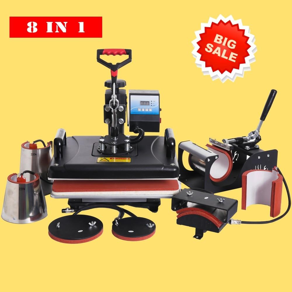 Cheap 8 In 1 Heat Press /heat Transfer/Sublimation/Heat Press Machine/Thermal Printer Sublimation For Tshirt/Mug/Cap/Phone Cases