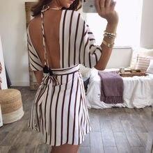 Summer Dresses 2019 New Sexy Women Short Sleeve Backless Deep V neck High Waist Striped Dress