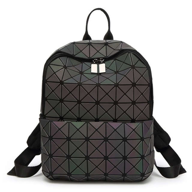 8db6e42ab4 Women Fashion Luminous Backpack Girls Sequins Folding Geometry Bao School  Bags Diamond Female Noctilucent Mochila Shoulder Bag