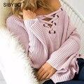 Julissa Mo Suéter Sólido 2016 Mujeres Sexy Cuello En V Manga Larga suéteres Suéteres Elegante Ata para Arriba el Alto Bajo Red de Punto Jumper Sweater