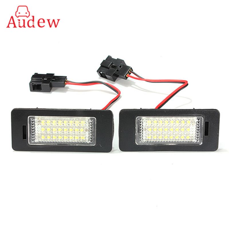 1Pair 12V 3W 24 LEDs License Plate Light Number Plate Lamp For Audi TT Q5 A4 A5 S5 For VW/Passat R36 2008 12v parking rgb reversing video camera for vw tiguan a4 a6 q5 rns510 rcd510 5nd 827 566 c 5n0 827 566c 5nd827566c