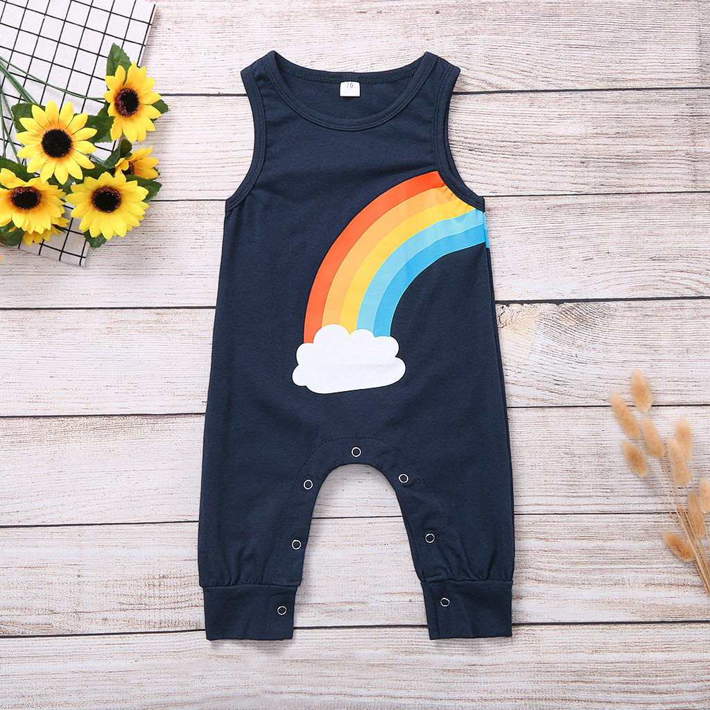 Aaaaamber 0-2T Baby Girl Sleeveless Romper Overall Blue Jumpsuit Elastic Cute Romper Ruffle Shoulder Strap Overalls