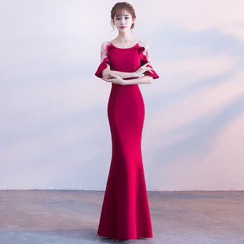 Burgundy Mermaid Dress Evening Party Gown Sexy Exquisite Vestidos De Festa Full Length Hollow Out Patchwork Chinese Prom Dresses