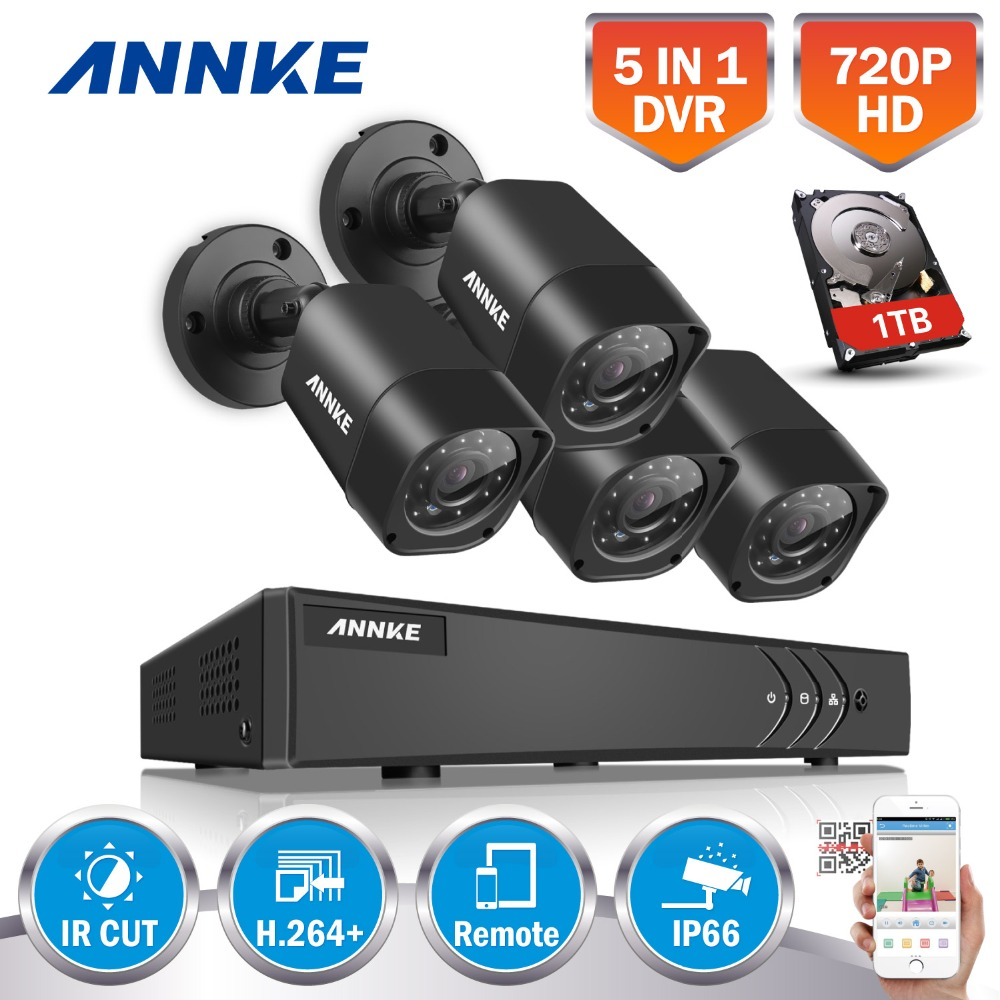 ANNKE 4CH HD TVI 1080N DVR Kit 4pcs 1500TVL 720P CCTV Security Camera System IR Night Vision Video Surveillance kit 1TB HDD