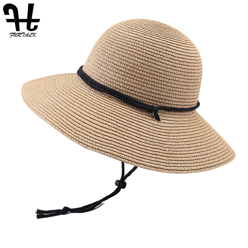 Image 3 - FURTALK Summer Hat for Women Straw Hat Beach Sun Hat Female Wide Brim UPF 50+ Sun Protection Bucket Hats Cap with Wind Lanyard-in Women's Sun Hats from Apparel Accessories