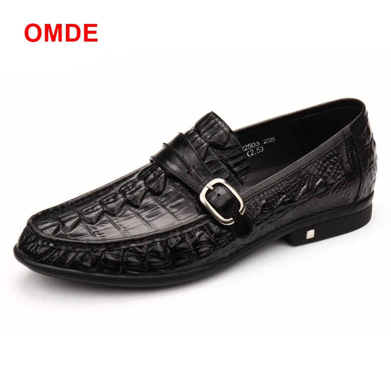 OMDE Newest Leather Casual Shoes Round Toe Men's Slip-on Loafers With Buckles Genuine Leather Crocodile Grain Mens Dress Shoes girls and ladies favorite white roller skates with full grain genuine leather dual lane roller skate shoes for adult skating