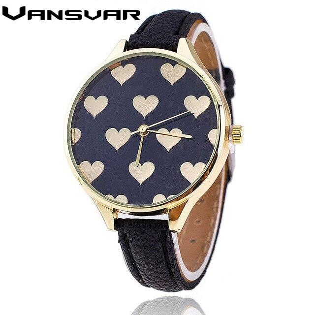 Vansvar Hot Fashion Leather Strap Women Watch Casual Love Heart Quartz Wrist Wat