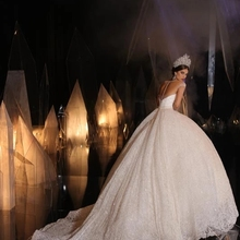 SOFUGER Long Sleeve Wedding Dress Ball Gown Bride Dress