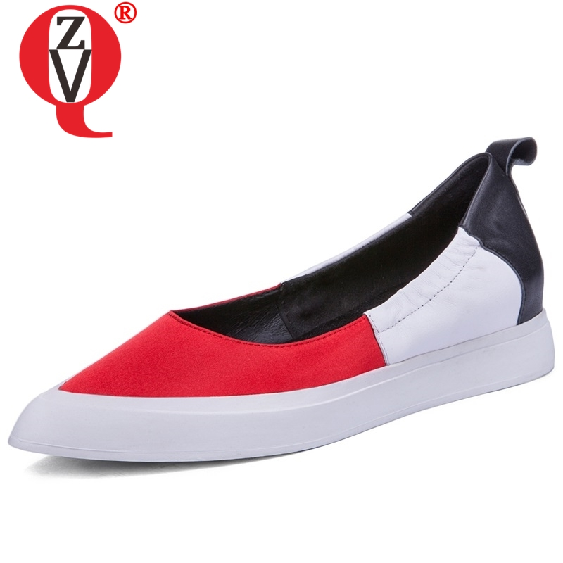 ZVQ women casual heels shoes gneuine soft leather upper pointed toe slip on dress heels good