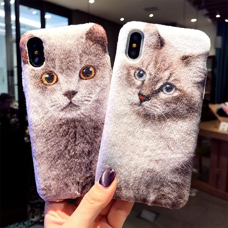 LISHE Lovely Plush Cat Soft Silicone Phone Case For IPhone 6 6s 7 8 Plus X Winter Plush Phone Cover For Iphone Accessories