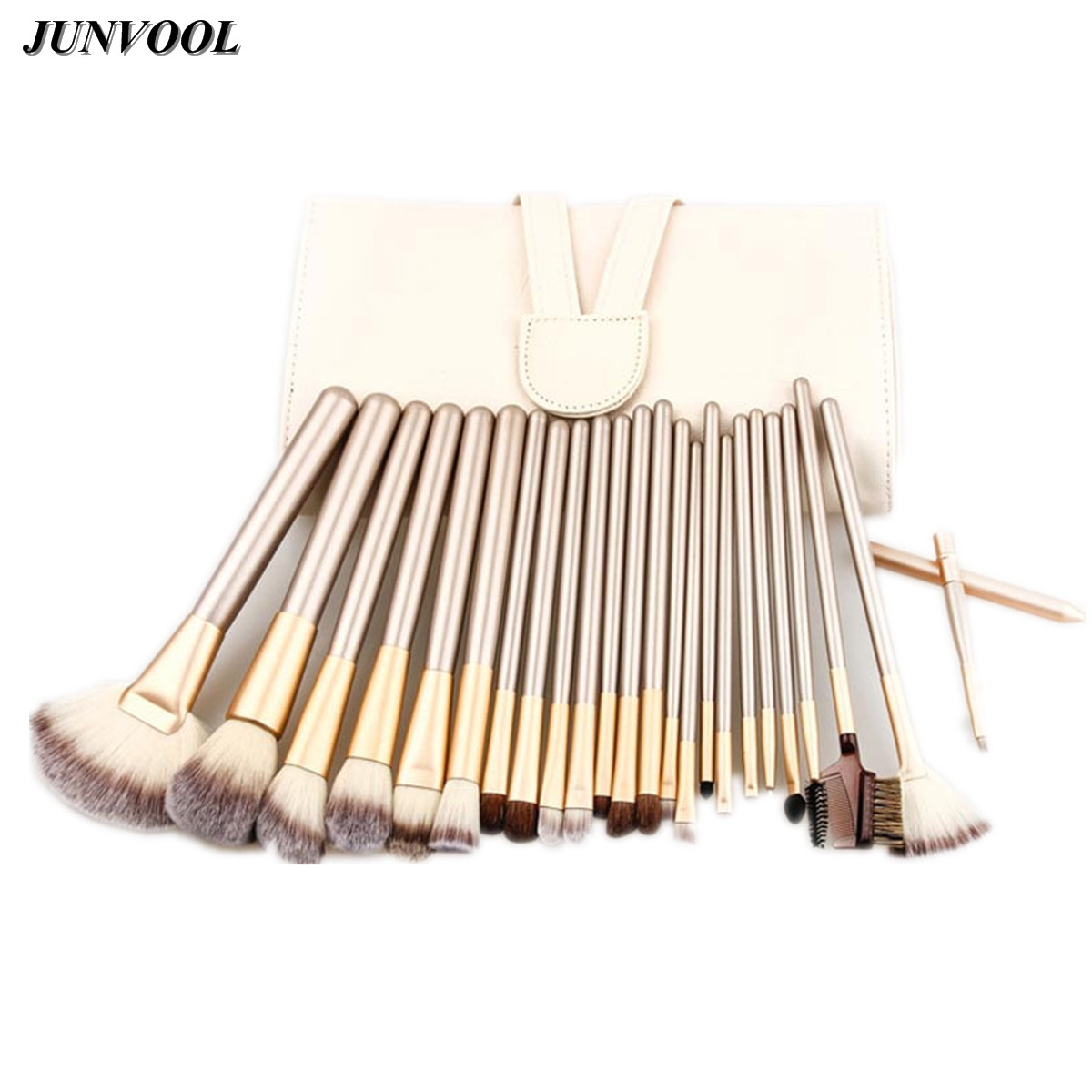 Gold 24pcs Brown Makeup Brushes Professional Powder Foundation Brush Set Cosmetic Make Up Tool Blush Brush with Bag High Quality 24pcs makeup brushes set cosmetic make up tools set fan foundation powder brush eyeliner brushes leather case with pink puff