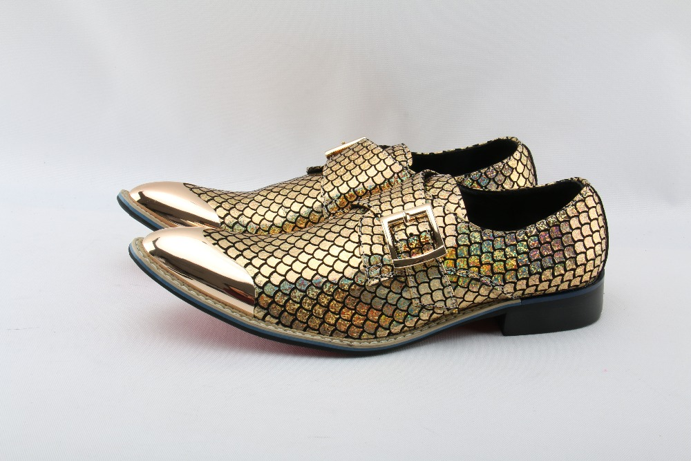 Men Shoes Luxury Brand Loafers Sequined Gold Metal Dress Shoes Men Leather Luxury Party Pointed Toe luxury italy loafers