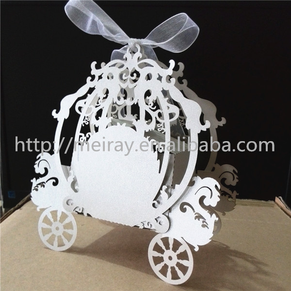 New Wedding Invitation Paper Box Fairy Carriage Candy Souvenirs Party Supplies Customized