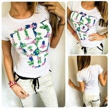 Fashion Trend Letters Printed Slim T-shirt 2017 New Summer T-shirts For Women Harajuku Tops Casual Female T-shirt Women Clothing цена и фото
