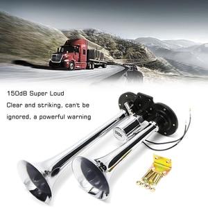 Image 2 - 12 v/24 v 150db universal duplo trompete chifre elétrico alto alto cromo chifre de ar alto alto alto alto alto kit para caminhão trem