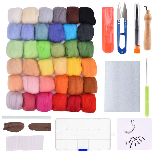 7/24/36/50 Colors Wool Felt Craft Kit Needle Felting Starter Fabric Yarn Roving DIY Spinning Sewing Mold Needlework Accessories 2