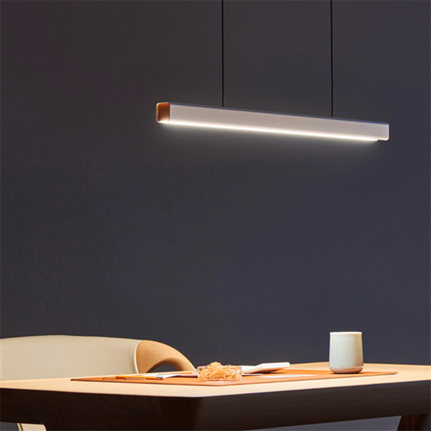 Nordic Fish Line Long Wood LED Pendant Lamp Bar Restaurant LED Office Lamp Study Art Pendant Lights Lighting Hanging Lamp Lustre