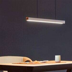 Image 1 - Nordic Fish Line Long Wood LED Pendant Lamp Bar Restaurant LED Office Lamp Study Art Pendant Lights Lighting Hanging Lamp Lustre