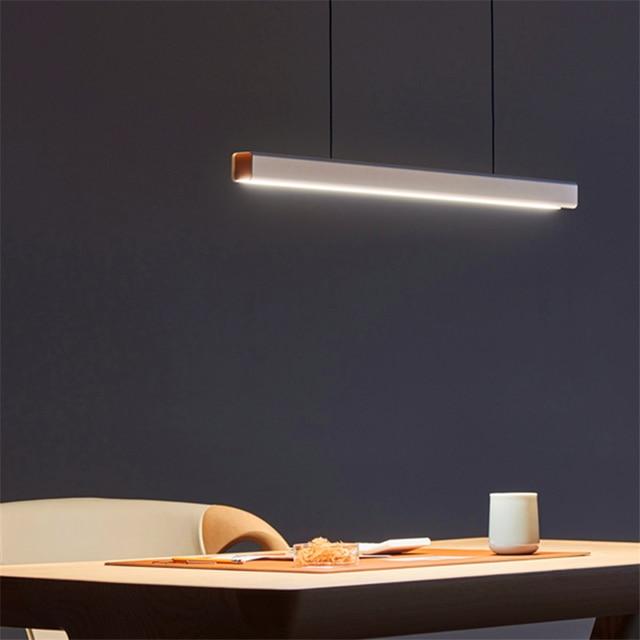 Nordic Fish Line Long Wood LED Pendant Lamp Bar Restaurant LED Office Lamp Study Art Pendant Lights Lighting Hanging Lamp Lustre