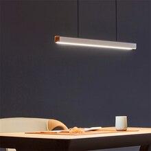 Nordic linka wędkarska długie drewniane wisiorek LED podłużna lampa restauracja LED lampa biurowa studium wisiorek artystyczny oświetlenie oświetlenie lampy wiszące luster