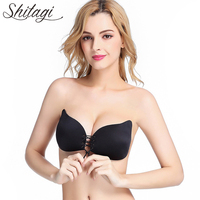 Shitagi Invisible Strapless Sexy Push Up Bra Front Closure Self Adhesive Silicone Seamless Backless Women Bra