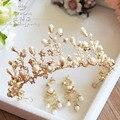 European handmade pearl tiara earrings set large crown headdress jewelry wedding bride hair accessories
