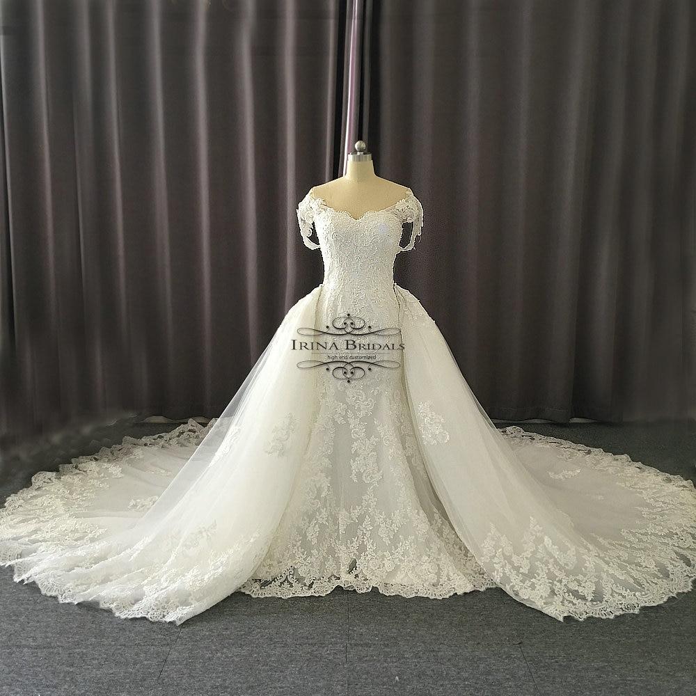 Irina Bridals Off Shoulder Straps Lace Applique Crystal Wedding ... ac974e65ad4
