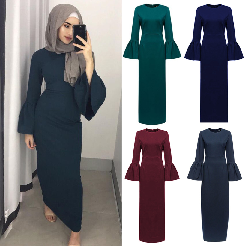 Fashion Muslim Abaya Maxi Dress Flare Sleeve Long Robe Gowns Kimono Ramadan Islamic Prayer Clothing Worship Service Wholesale