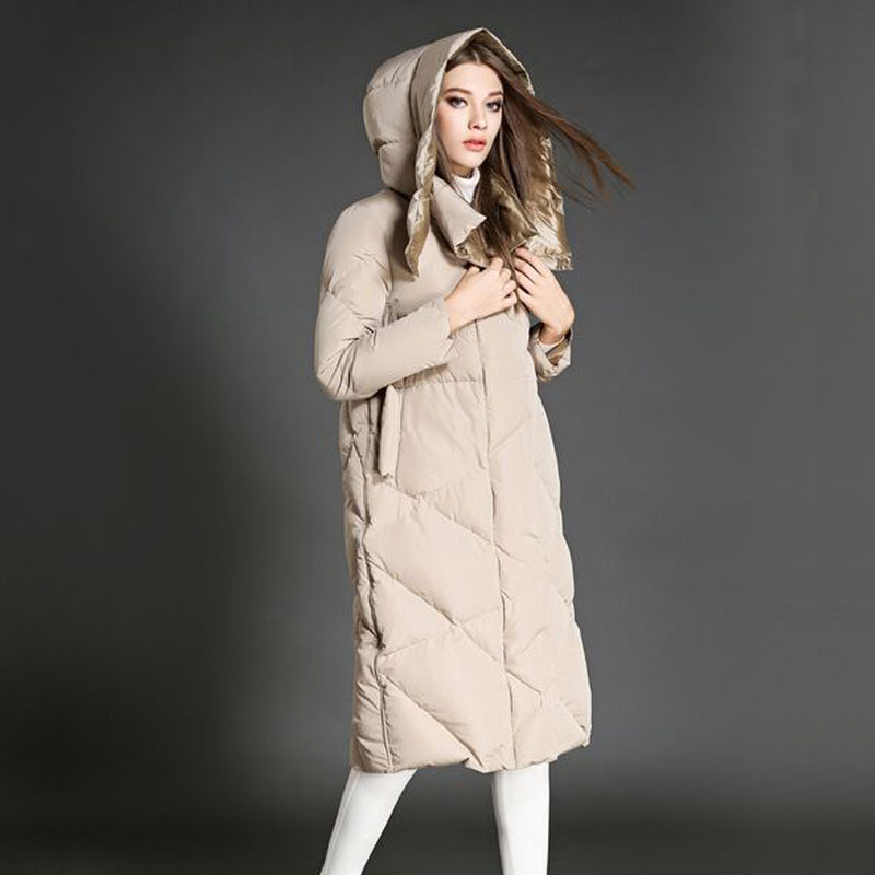 New Fashion Down Parka 2016 Thicken X-Long Winter Jacket Women White Duck Down Outerwear Coat Warm Jackets And Coats Overcoat 2015 new thin style winter coat women slim white duck down parka long jacket women s outerwear elegant down jackets coat zj016