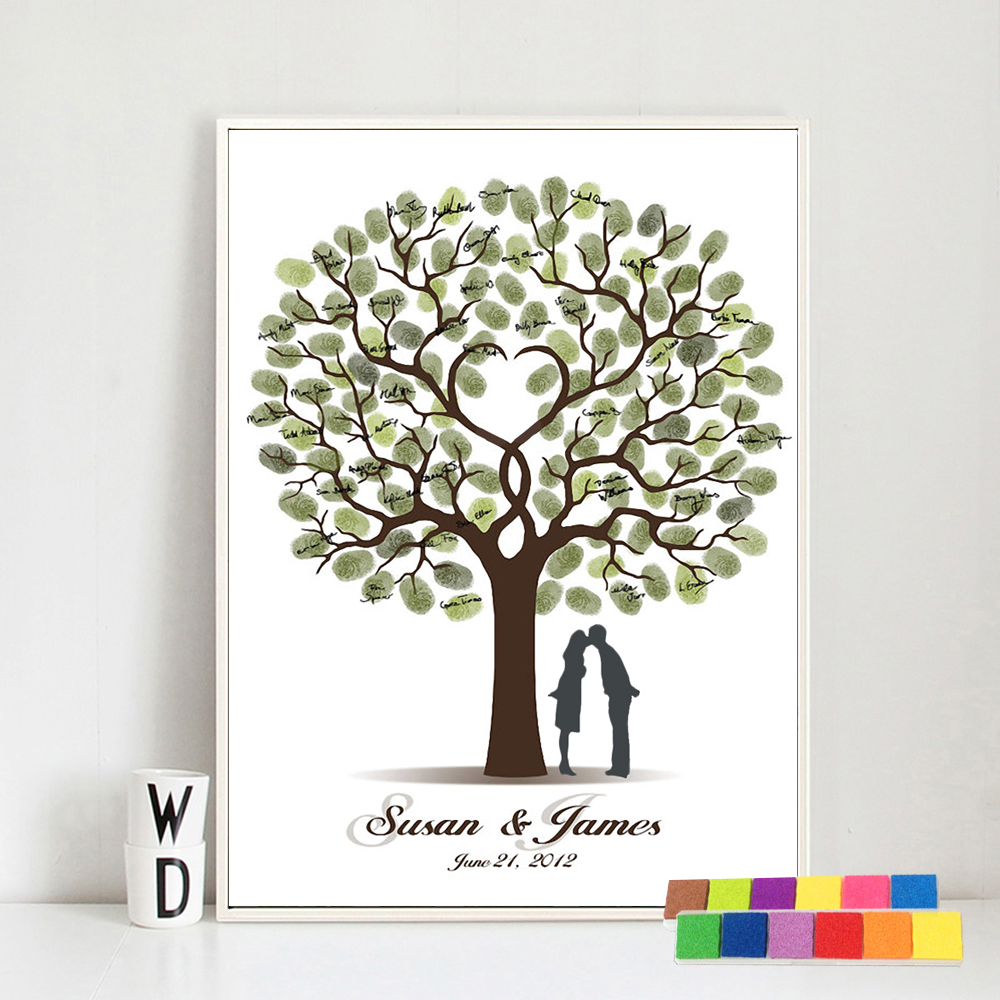Wedding Gift Fingerprint Tree Painting Kiss Lover Party Wedding Guest Book Fingerprint Wedding Book Canvas Painting Living Room