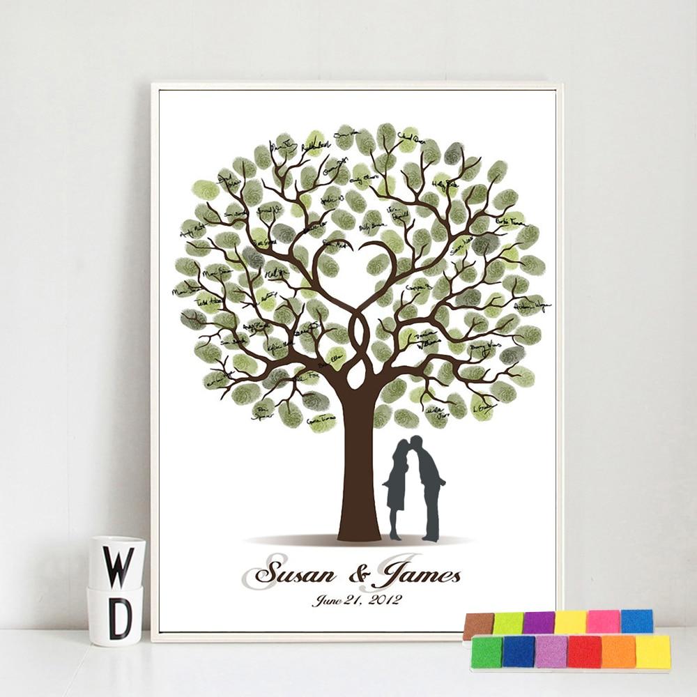 Bryllup Gæstebog Fingeraftryk Bryllupstræ Kiss Lover Maleri Diy Fest Dekoration Bryllup Gaver til gæster livre d'or mariage