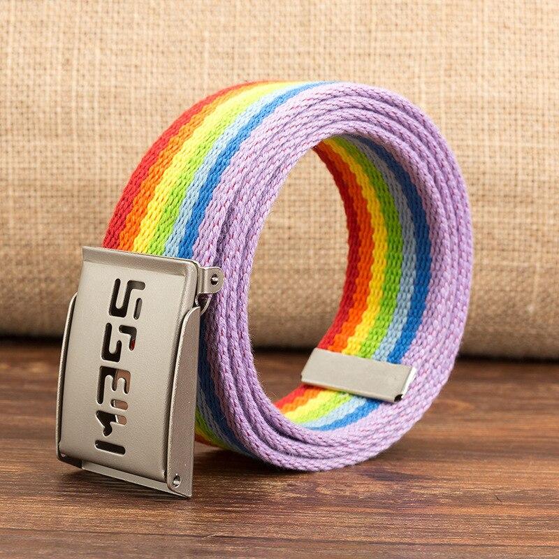 Унисекс повседневные однотонные цветные тканые ленты полотняный ремень письмо автоматический пояс на пряжке военная техника армейский ремень - Цвет: rainbow